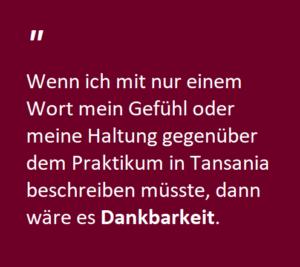 Dankbarkeit - Auslandspraktikum in Tansania SFU Berlin